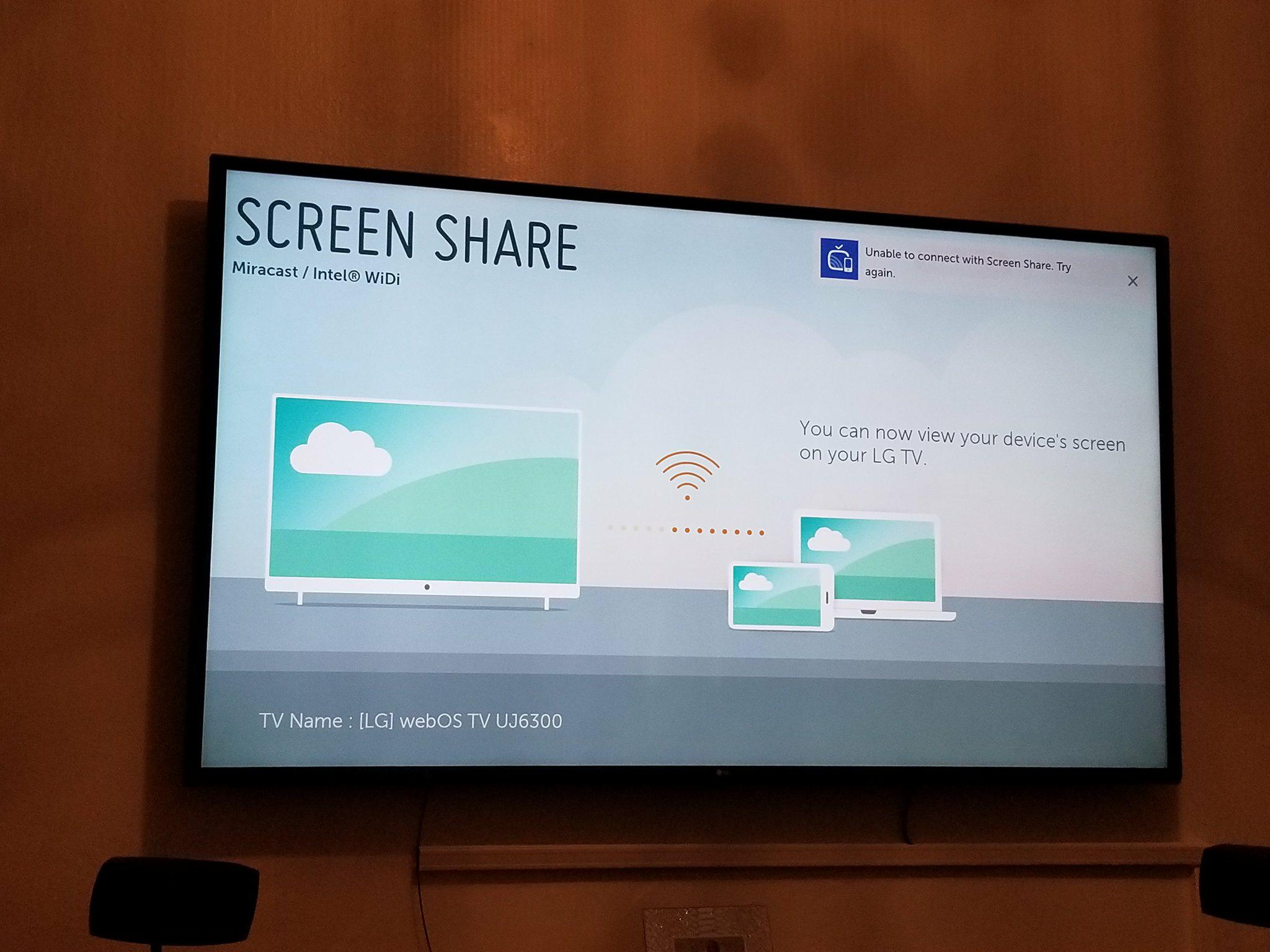 Screen share mirror broken lg webos smart tv questions for Mirror for lg tv